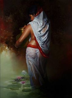 Sexy Painting, Woman Painting, Artist Painting, Artist Art, Indian Women Painting, Indian Artist, Indian Artwork, Indian Art Paintings, Art Village