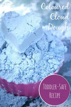 This toddler safe cloud dough is sure to brighten up play time!  The color comes out so gorgeous.