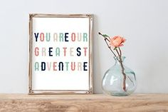 You Are Our Greatest Adventure   Modern Nursery Art Print Coral   8.5 x 11   Home Decor
