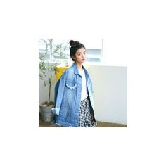 Distressed Denim Jacket ($45) ❤ liked on Polyvore featuring outerwear, jackets, women, distressed denim jacket and blue jackets