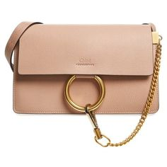 Women's Chloe Small Faye Goatskin Leather Crossbody Bag ($1,490) ❤ liked on Polyvore featuring bags, handbags, shoulder bags, biscotti beige, crossbody shoulder bag, leather cross body purse, leather shoulder handbags, crossbody purses and chloe purse