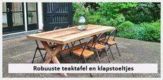 tuintafel robuust in klapbare metalen stoeltjes in Voorschoten