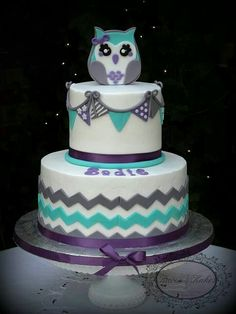 Chevron Owl themed baby shower cake. Could be used for a birthday cake?!