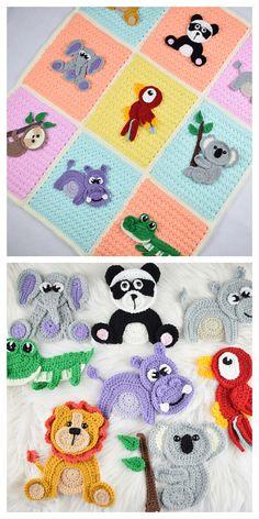 Crochet Applique Patterns Free, Crochet Baby Blanket Free Pattern, Crochet Quilt, Crochet Animal Patterns, Baby Knitting Patterns, Crochet Motif, Baby Patterns, Free Crochet, Crochet Owl Blanket