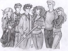 Luna, Neville, Harry, Hermione, Ron and Ginny Gina Harry Potter, Fanart Harry Potter, Harry Potter Artwork, Harry Potter Drawings, Harry Potter Universal, Harry Potter Fandom, Harry Potter World, Harry Potter Memes, Hogwarts