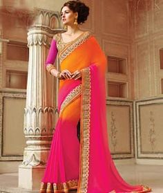 Buy Orange Georgette Party Wear Saree 72247 with blouse online at lowest price from vast collection of sarees at Indianclothstore.com.