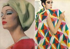 (L) Nena von Schlebrugge wearing a pale green felt beret by Halston, Photo by Bert Stern, Vogue March (R) Peggy Moffitt. Sixties Makeup, Peggy Moffitt, William Claxton, Vintage Fashion Photography, Makeup For Green Eyes, Clothing Sites, Vintage Couture, 1960s Fashion, Vintage Outfits