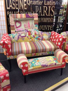 Hobby Lobby in Santa Fe, New Mexico. Colorful patchwork sofa and bench.