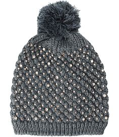 CRYSTAL BLING BEANIE HAT IN GRAY