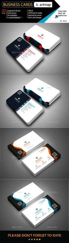 Business Card Design Bundle - Corporate Business Card Template AI Illustrator. Download here: http://graphicriver.net/item/business-card-bundle/16854382?ref=yinkira