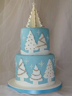 Blue and white Christmas Cake