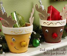 Plaid® Reindeer Pals #claypot #craft #christmas