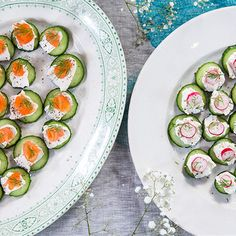 Try this Cucumber and Smoked Salmon Canapés recipe by Chef Jasmine and Melissa Hemsley . This recipe is from the show Hemsley Hemsley - Healthy