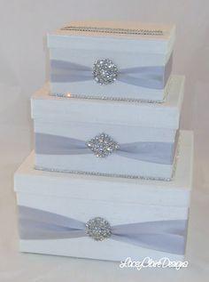 Items similar to Card box / Wedding Box / Wedding money box - 3 tier - Personalized - silver on Etsy