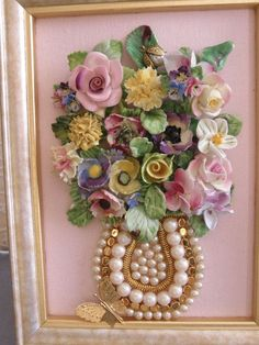 nice One-of-a-Kind Framed Vintage Jewelry Art Vase of Porcelain Flowers Pink Yellow Lilac Green Tones Handcrafted by post_link