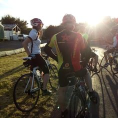 Clare, Aldo and the guys on a Tuesday evening ride in August