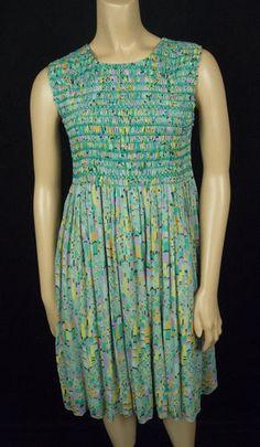 ANNA SUI Anthropologie Dress S Small 100% Silk Smocked Summer Sun Multi Color