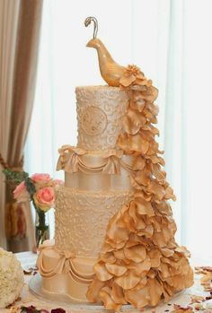 Peach Peacock wedding Cake