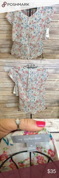 🆕(NWT)Ny collection floral print blouse 🆕(NWT) Ny collection cream colored floral print blouses , zippered front detail, GORGEOUS BLOUSE!!! NY Collection Tops Blouses
