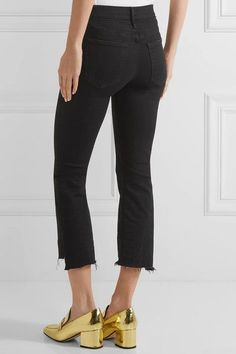 Mother - The Insider Crop High-rise Flared Jeans - Black -