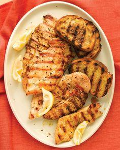 Grilled Lemon Chicken with Garlic Bread