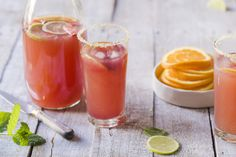 Cranberry sunset punch with lime sugar