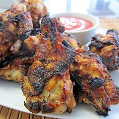 Grilled Lemon & Herb Chicken Wings by Natalie Larin