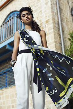 Black printed light and long silk twill scarf, MADE IN ITALY, Long designer shawl, Blue, Grey, yellow, Modern original print by Dikla Levsky