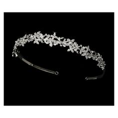 Silver Lovely Floral Rhinestone Headband Tiara