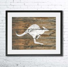 Kangaroo illustration, Kangaroo painting, Nautical, Wall art, Rustic Wood art, Animal print, Home Decor, Animal silhouette, Kitchen decor Printed