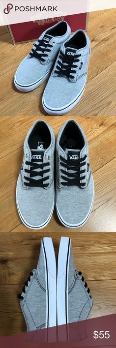 Men's Vans Atwood Washed Jersey grey white shoes New in box -Vans Atwood Washed Jersey Men's Skateboard Casual Shoes Sneakers Size 9 Color Gray/White Style VN-00015GILI   Vans The Atwood, a heritage low-top style, features a double-stitched canvas upper on a Vans Original Waffle Outsole. Metal eyelets, a padded tongue and collar, along with vulcanized construction give this very comfortable style the utmost in durability. Vans Shoes