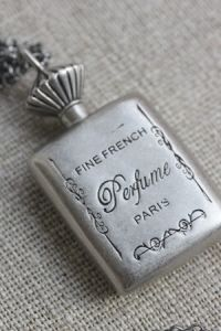 Fine French Perfume Paris - vintage silver perfume pendant with chain.