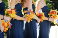 Sunset colors complement beach themed wedding
