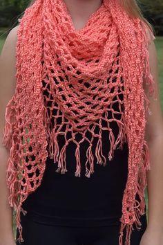 Macrame Knot Fringe Shawl Free Crochet Pattern