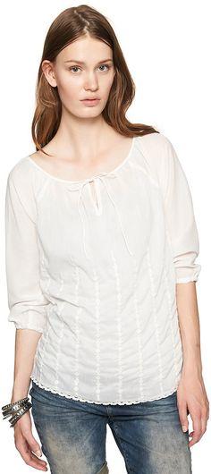 Tunika-Bluse mit Stickerei für Frauen (unifarben, 3/4-Arm und Rundhals-Ausschnitt mit Schlitz) aus transparentem Voile, Raglan-Ärmel mit leichter Raffung, Saum mit feiner Spitzenborte. Material: 100 % Polyester...