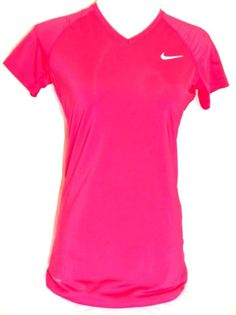NIKE Women's Hot Pink Dry-Fit Pro Combat Fitted Stretch Short Sleeve Shirt Sz M #Nike #ShirtsTops