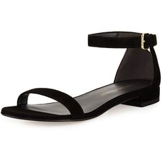 Stuart Weitzman Nudistflat Suede d'Orsay Sandal ($375) ❤ liked on Polyvore featuring shoes, sandals, black, shoes sandals, black flat shoes, black open toe flats, black flats, black sandals and black ankle strap sandals