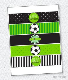 Soccer Party PRINTABLE Drink Labels INSTANT DOWNLOAD by Love