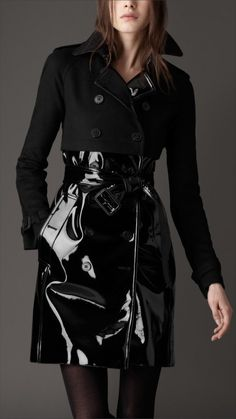 Burberry London women wool and patent trench coat