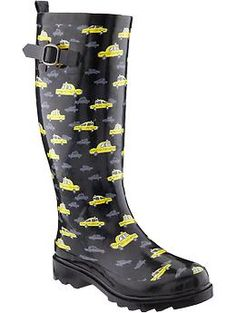 Women's Printed Rain Boots   Old Navy