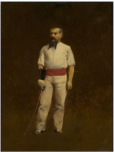 Sir Richard Burton dressed for fencing  Oil painting by Albert Letchford, born 1866 - died 1905