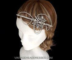 Vintage Art Deco Diamante Drape Headpiece - Rhinestone Bridal Headband Halo - Flapper Headband - Wedding Headpiece $307