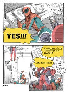 Artist:m on Pixiv title: DPSP漫画01 Spideypool Comic   Part 3   Deadpool   Spiderman   Marvel