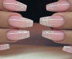 Glitter + Blush Pink Coffin Nails #nude #nail #nailart