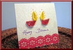 Happy Diwali to all who celebrate Diwali. Diwali is a festival of lights. Diwali or Deepawali is celebrated by decorating houses with ligh. Diy Diwali Cards, Handmade Diwali Greeting Cards, Diwali Card Making, Diwali Diy, Diwali Gifts, Diy Cards, Handmade Cards, Diwali 2014, Diwali Rangoli