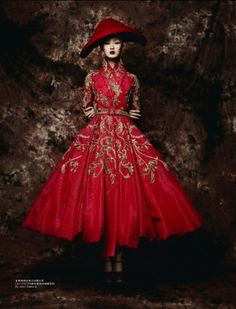 """Remembrance of Things Past"" Ji Lili wearing Christian Dior Fall 2007 Haute Couture for L'Officiel China"