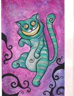 aquarela O GATO RISONHO- watercolor the chesire cat alice in wonderland / alice no pais das maravilhas