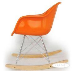 Amazon.com: Kardiel Eames Style Molded Fiberglass Rocker RAR Chair, Orange/Natural Wood: Patio, Lawn & Garden $325