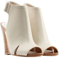 Rag & Bone Open Toe Leather Wedges ($380) ❤ liked on Polyvore featuring shoes, sandals, heels, wedges, boots, beige, beige wedge shoes, open toe sandals, leather shoes y beige leather sandals