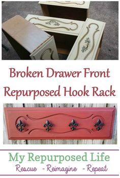 How to use a broken drawer front to make a fun and easy hook rack. Step by step directions to make your own drawer front hook rack. Painting Wooden Furniture, Refurbished Furniture, Repurposed Furniture, Shabby Chic Furniture, Furniture Makeover, Vintage Furniture, Furniture Repair, Bedroom Furniture, Rustic Furniture
